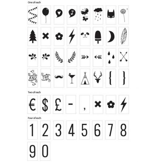 Set de símbolos y números adicionales para el lighbox
