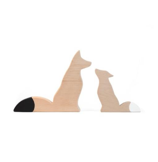 Zorros decorativos de madera Foxy - blanco y negro