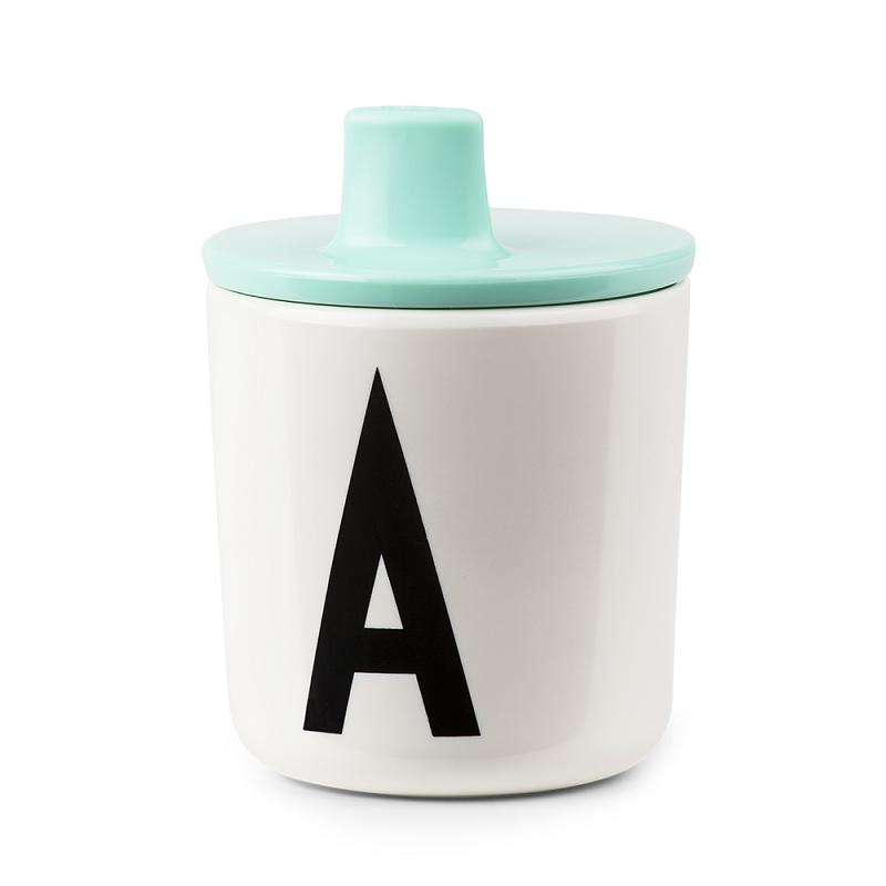 Tapa con boquilla mint para vaso melamina Design Letters