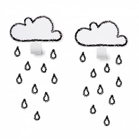 2 Colgadores nube blancos con gotas
