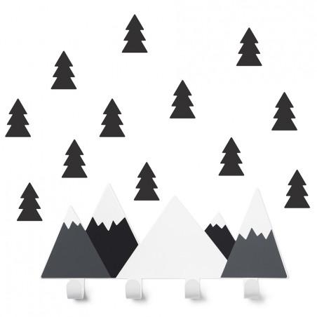 Colgador montañas b/n con abetos - Tresxics