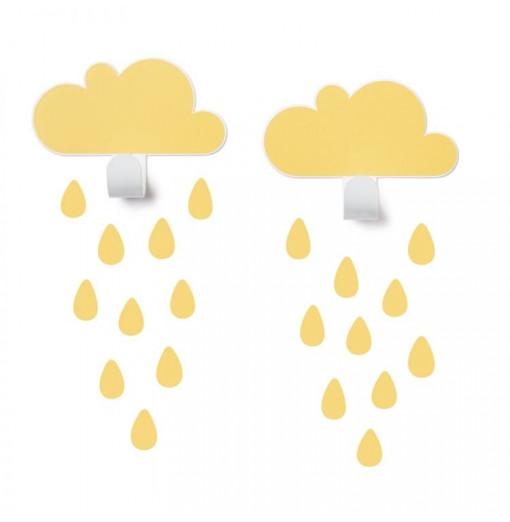 2 Colgadores nubes amarillas con gotas