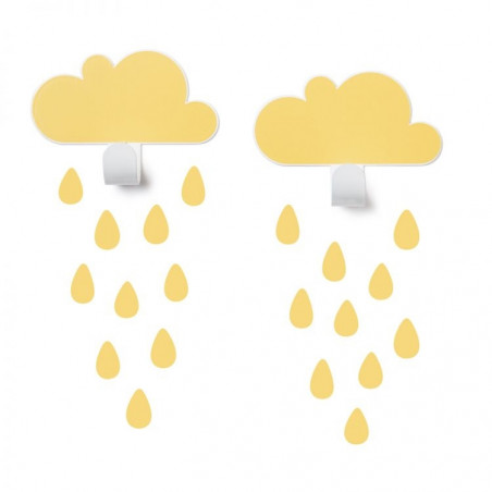 2 Colgadores nubes amarillas con gotas - Tresxics