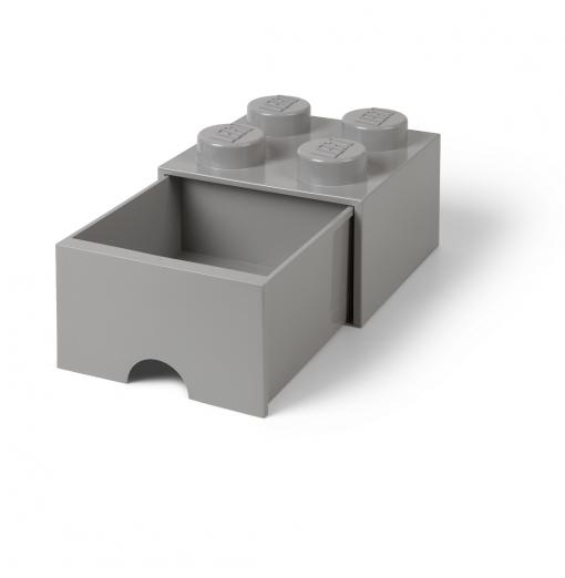 Caja de almacenaje LEGO 4 con cajón - gris