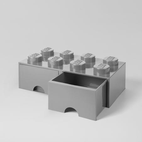 Caja de almacenaje LEGO 8 con cajones - gris
