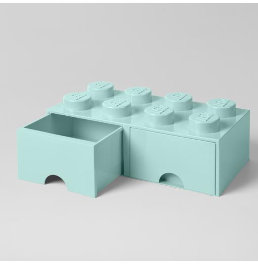 Caja de almacenaje LEGO 8 con cajones - aqua