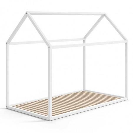 Cama casita madera de haya lacada en blanco 90 x 190 - Ros