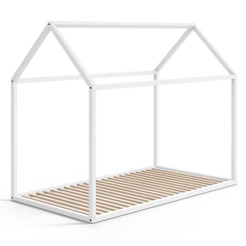 Estructura casita de madera de haya en blanco para cama 90 x 190 - Muebles Ros