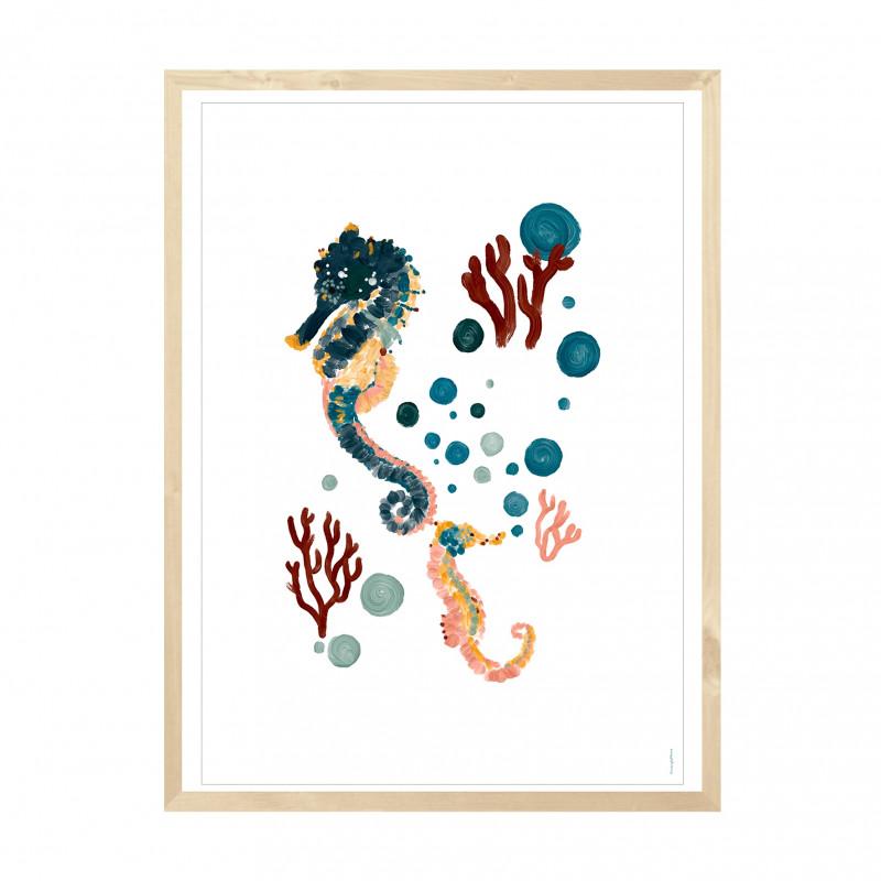 """Lámina """"Seahorses Coral & Bubbles"""" - Amayadeeme"""