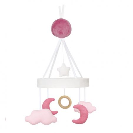 Móvil cuna de nubes y lunas rosas - Jabadabado