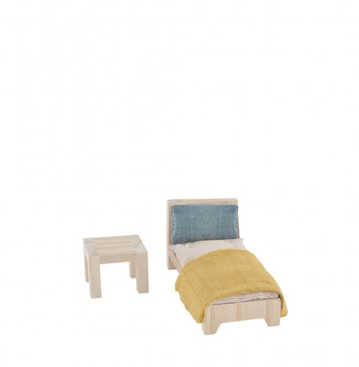 Dormitorio con cama individual para Casita de muñecas - Olli Ella