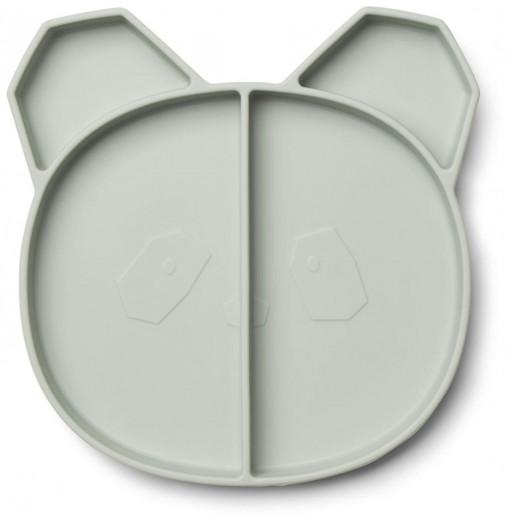 Plato con compartimentos silicona panda mint - Liewood