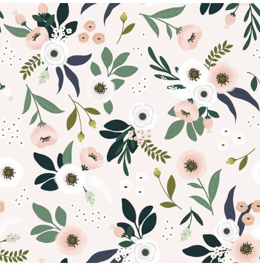 Papel pintado flores con fodo rosa pálido - Lilipinso