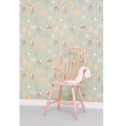 Papel pintado Golden Woods verde suave - Majvillan