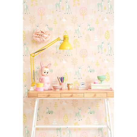Papel pintado Golden Woods rosa - Majvillan
