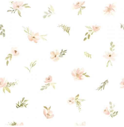 Papel pintado flores de acuarela - Lilipinso