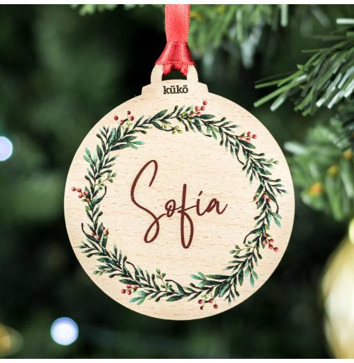 Bola de Navidad personalizada en color - madera de haya