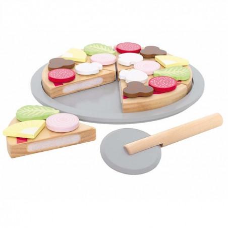 Pizza de juguete con plato y cortador - Jabadabado