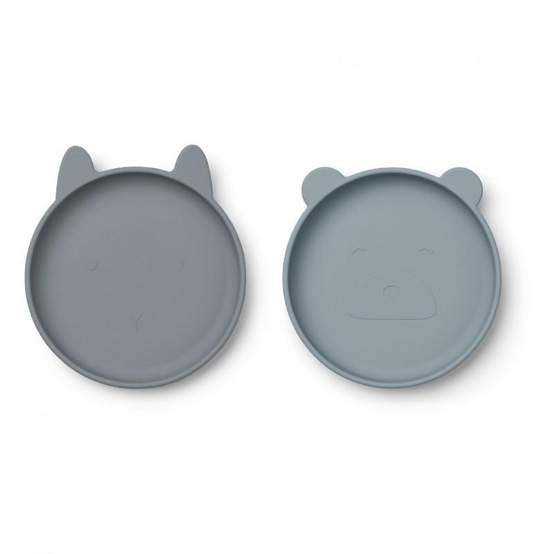 Pack de 2 platos de silicona azul Olivia - Liewood