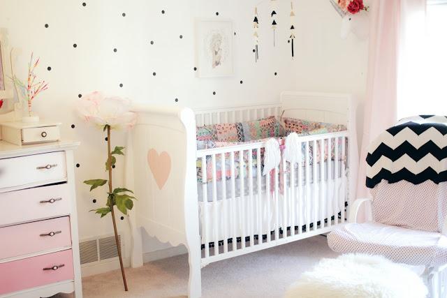 Una habitaci n infantil decorada en rosa y lunares - Habitacion infantil rosa ...